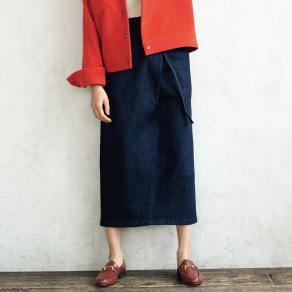 ストレッチデニム ラップ風 スカート 写真