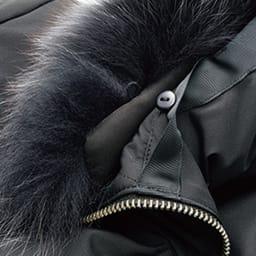 フォックスファー付き はっ水加工 ラインデザイン ダウンコート ファーは比翼風のボタンで取り外し