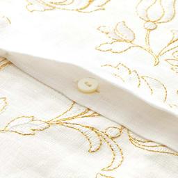 イタリア素材 フロント刺繍 リネン シャツ 比翼ボタン開き