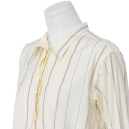 イタリア素材 シャイニー ストライプ シャツ