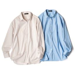 ストライプ ジャージー シャツ 左から (イ)ベージュ×ホワイト (ア)ライトブルー×ホワイト