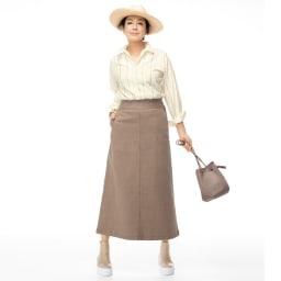デニム セミタイト ロングスカート コーディネート例