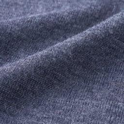 【S・M・L】 ウールシルク 暖かインナー ラウンドネック 九分袖 (ア)グレイッシュネイビー 生地アップ