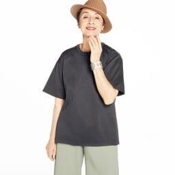 シルケット コットンジャージー Tシャツ (ア)ダークグレイッシュグリーン コーディネート例