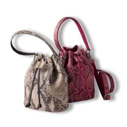 パイソン 2WAY 巾着型バッグ 左から (ア)ナチュラル (イ)ピンク