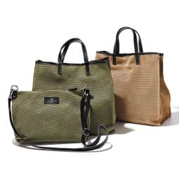LAURA DI MAGGIO(R)/ラウラ ディ マッジオ パンチング 2WAY バッグ(イタリア製) 左から (イ)カーキ (ア)ベージュ