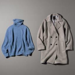 イタリア糸 カシミヤケーブル編み タートルネックプルオーバー (イ)ブルー ※お届けは左のタートルネックプルオーバーです。