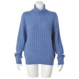 イタリア糸 カシミヤケーブル編み タートルネックプルオーバー (イ)ブルー