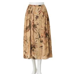 イタリア素材 フラワープリントフレアスカート