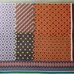 イタリア カネパ社製 幾何学柄スカーフ Overall Picture (イ)オレンジ系