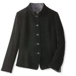 シルク混 ベルベット スタンドカラー ジャケット
