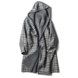 フェルラ社 アルパカ混 リバーシブル フーデッドコート(イタリア製) チェック面