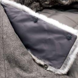コロンボ社 オリラグファー付き ダウンコート ファーはボタンで取り外し可能。
