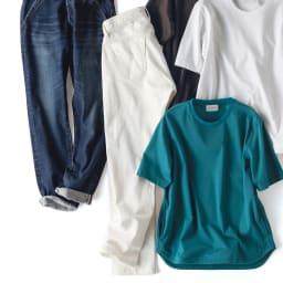 スリム ボーイフレンドデニム(ホワイト) 中央:SIDE ※インディゴデニムやTシャツは別売りの商品です。