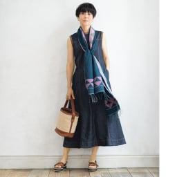 インド製 ジャカード織り コットン ストール コーディネート例