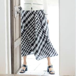 イタリア素材 ウエストタック チェック スカート 写真