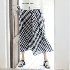イタリア素材 ウエストタック チェック スカート