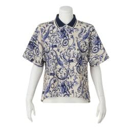 ラッティ社 プリント 鹿の子ジャージー テントライン ポロシャツ