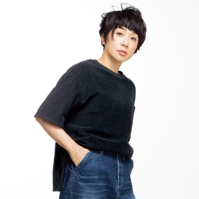 HAAG(R)/ハーグ スマイルコットン パイルTシャツ (ア)ブラック コーディネート例