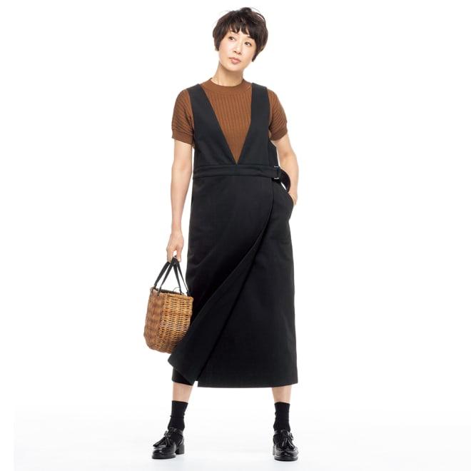 イタリア素材 コットン ジャンパースカート コーディネート例