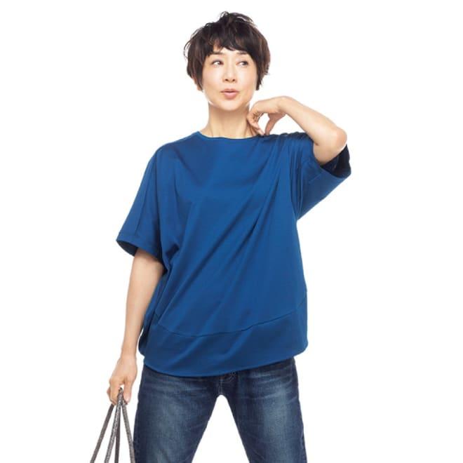 コットンスムース コクーン Tシャツ (ア)ロイヤルブルー 着用例