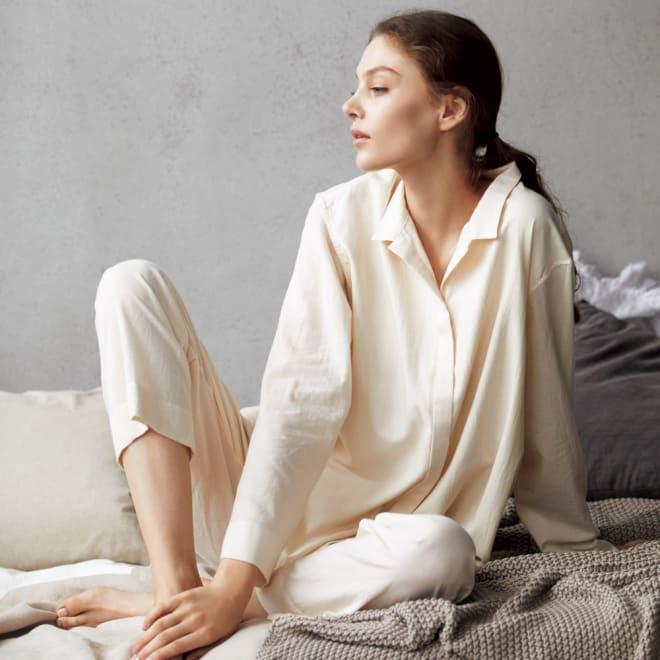 オーガニックコットン シャツパジャマ コーディネート例