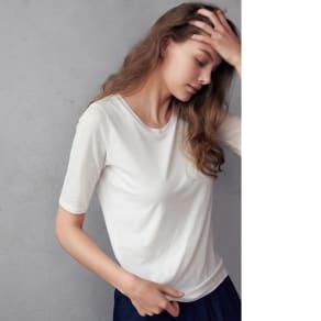 スマイルコットン 身頃二重仕立てTシャツ シリーズ 五分袖ラウンドネック 写真