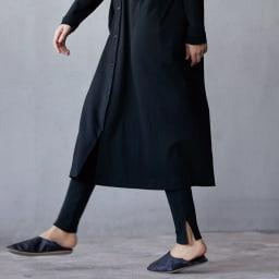 コットン混裾スリット 針抜きリブレギンス (ア)ブラック コーディネート例