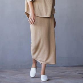 シルク混 ワッフル柄編 シリーズ スカート 写真