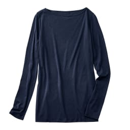スマイルコットン 身頃二重仕立てシリーズ ボートネック長袖Tシャツ (イ)ダークネイビー