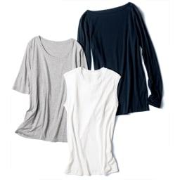 スマイルコットン 身頃二重仕立て スリーブレス Tシャツ 中央:(ア)オフホワイト ※他はスマイルコットンシリーズの長袖・五分袖タイプです。