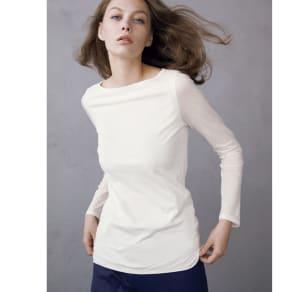 スマイルコットン 身頃二重仕立てシリーズ ボートネック長袖Tシャツ 写真