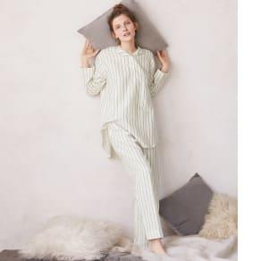 コットンシルク 二重ガーゼシャツパジャマ 写真