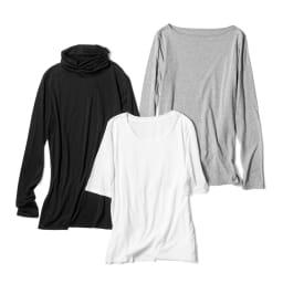 スマイルコットン 身頃二重仕立てシリーズ ボートネック 長袖 Tシャツ 右:(ウ)杢グレー 他の2アイテムは別売りの商品です。