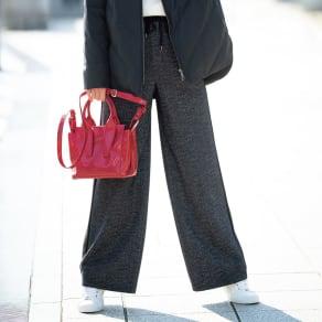 【股下丈68cm】 ヘリンボーン柄 サイドライン ワイドパンツ 写真