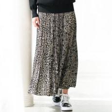 バクスターフォーセット社 レオパード フラワー柄 ロング プリーツスカート