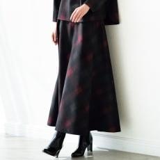 先染めチェック バイアス フレアースカート