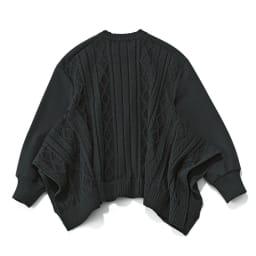 後ろケーブル編みフレアニットプルオーバー (イ)ブラック Back
