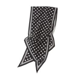 ドット柄 コットンローンスカーフ (ア)ブラック×ホワイト