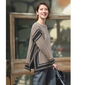イタリア糸リサイクルコットン配色プルオーバー 写真