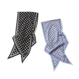 ドット柄 コットンローンスカーフ 左から(ア)ブラック×ホワイト (イ)グレー×ブルー