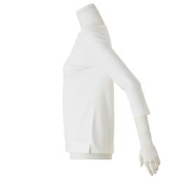 洗えるハイゲージコットンベア天竺シリーズ ボートネック Tシャツ (ア)ホワイト