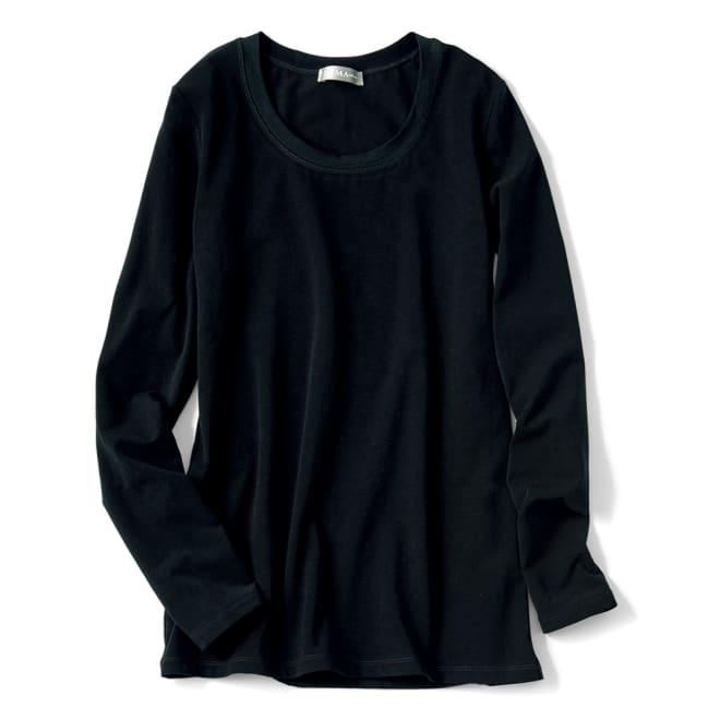 洗えるハイゲージコットンベア天竺シリーズ ラウンドネック 長袖 Tシャツ (ウ)ブラック