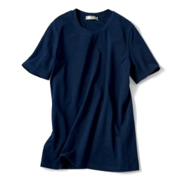 洗えるハイゲージコットンベア天竺シリーズ クルーネック 半袖 Tシャツ (エ)ネイビー