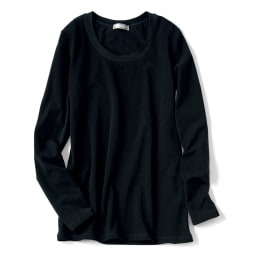 洗えるハイゲージコットンベア天竺シリーズ クルーネック 半袖 Tシャツ (ウ)ブラック ※こちらの画像は同シリーズのラウンドネック長袖タイプとなります。色味をご参照ください。