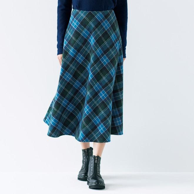 Kinloch Anderson(キンロック・アンダーソン)社 バイアスチェック フレアースカート コーディネート例