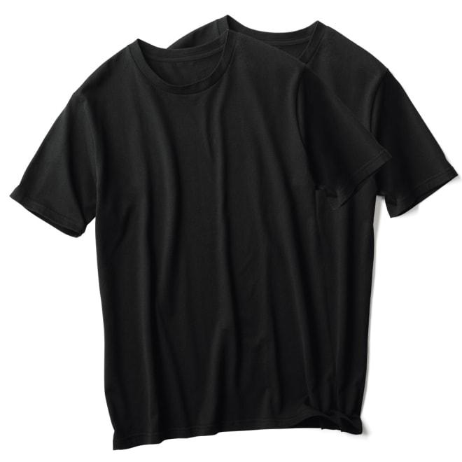ジャパンメイド クルーネック Tシャツ(同色2枚組) (イ)ブラック