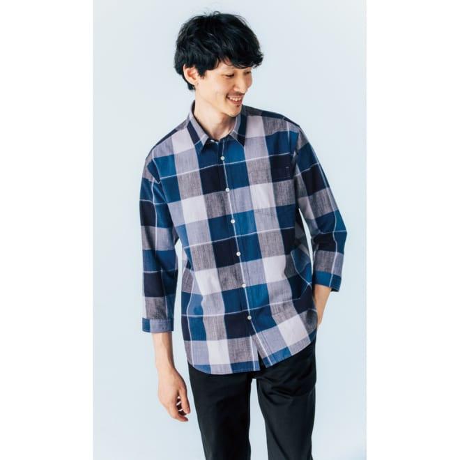 ジャパンファブリック リネンブレンド7分袖シャツシリーズ ネイビーチェック コーディネート例