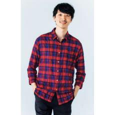 ジャパンファブリック リネンブレンド7分袖シャツシリーズ 清涼レッドチェック