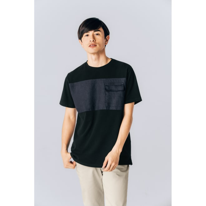 LOLA VIOLA/ローラ ヴィオラ リネン切り替えTシャツ (ア)ブラック×ネイビー コーディネート例